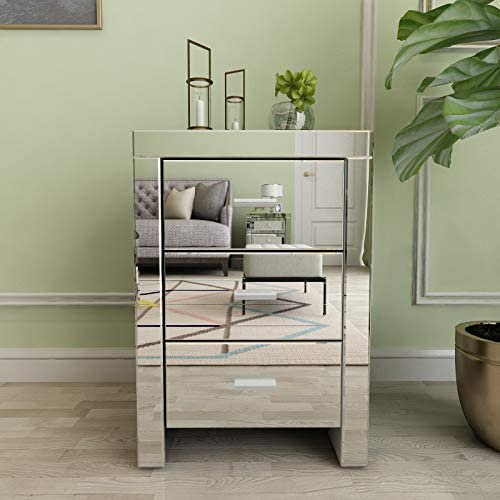 Mecor Mirrored End Table 3 Drawers Mirror Accent Side Table Silver Finished Nightstand for Living Room/Bedroom (Silver)