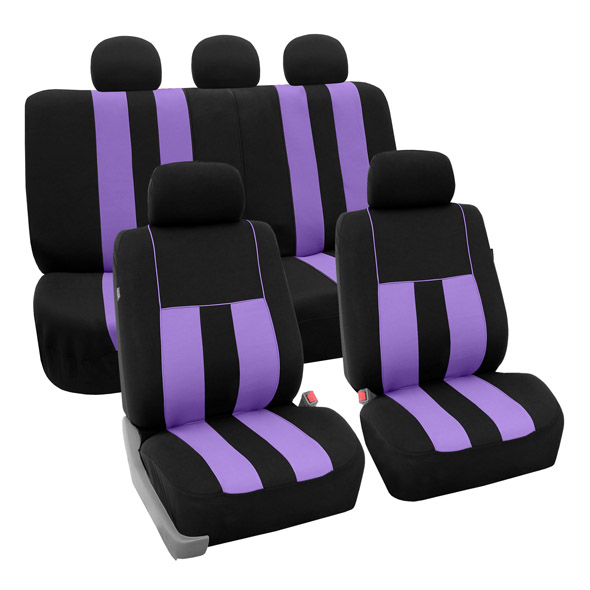 FH Group Striking Striped Airbag Compatible Full Set Seat Covers with Split Bench Function, Purple