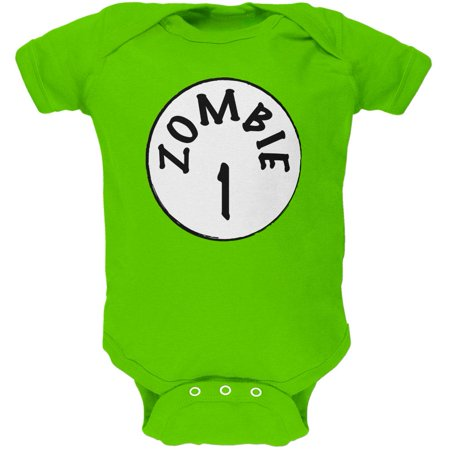 Halloween Zombie 1 One Costume Apple Green Soft Baby One Piece