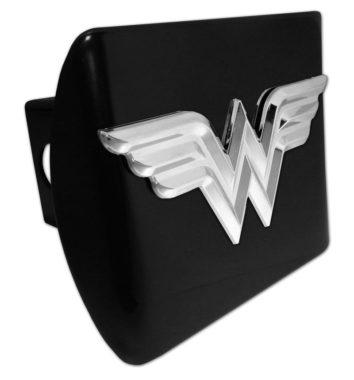 2 inch Trailer Hitch Cover Chrome with HOT Pink LicensePlateFreak Wonderwoman in 3D Wonder Woman Super Hero