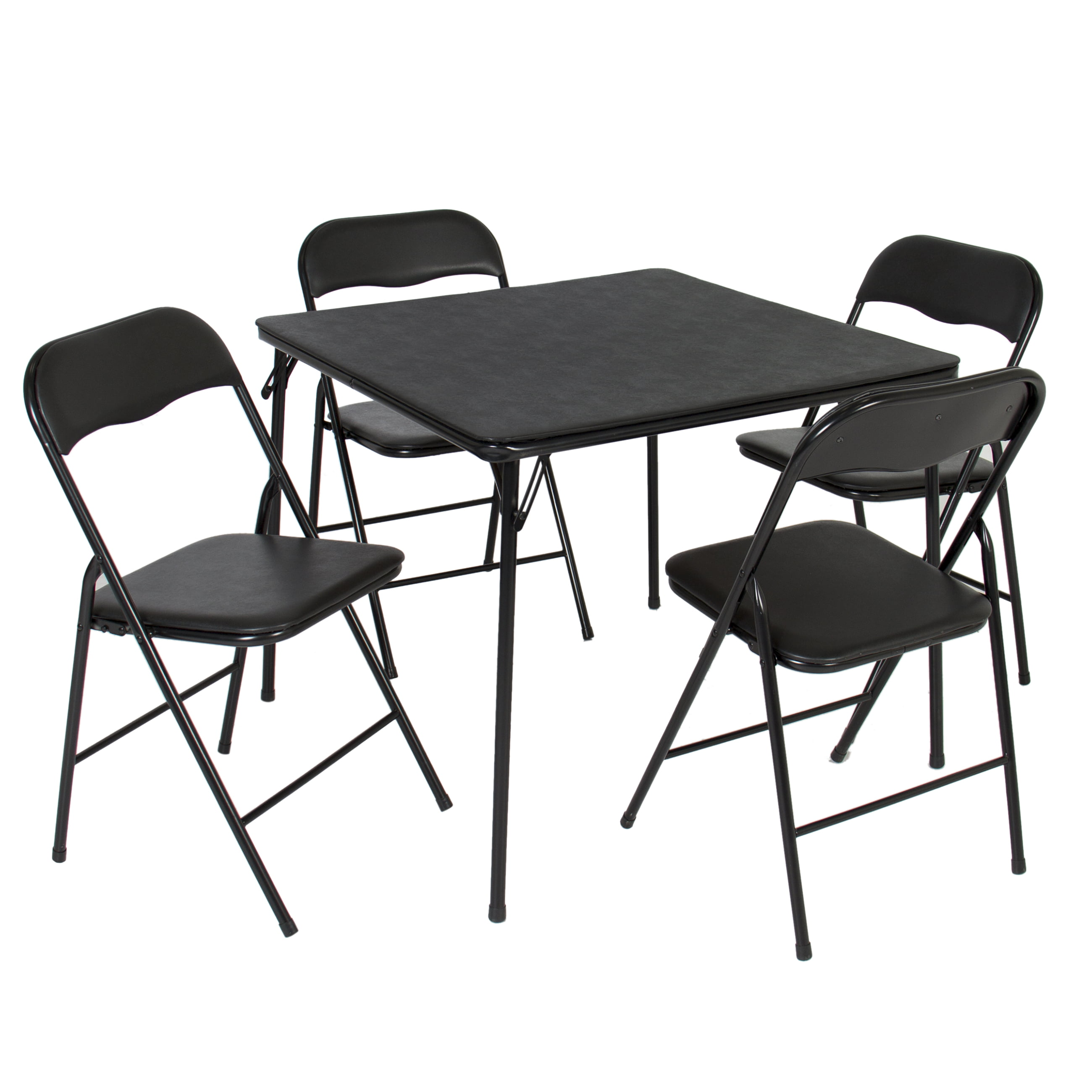 5PC Folding Table & Chairs Card Poker Game Parties Portable