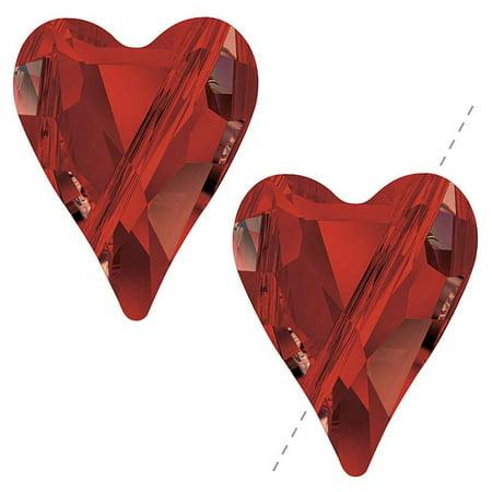 Swarovski Crystal Heart Beads (Swarovski Crystal, #5743 Wild Heart Beads 12mm, 2 Pieces, Crystal Red Magma )