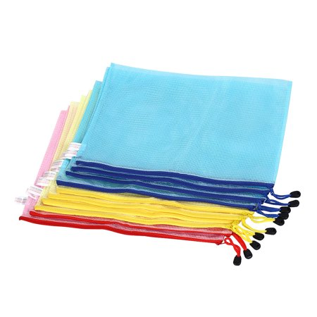 Zippered B4 Paper Document File Bag Holder Pouch Yellow Blue Pink w Strap 10pcs