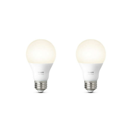 Philips Hue White A19 Smart Light Bulb, 60W LED, 2-Pack