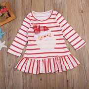 Christmas Baby Girls Dress Santa Claus Princess Striped Dresses With Ruffle Hem 1-5Y