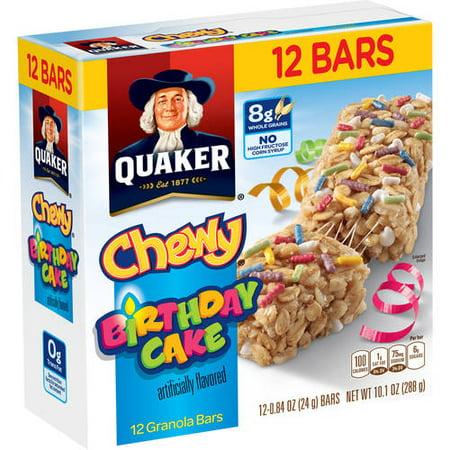 Quaker Chewy Bithdaycake Granola Bars 12 084 Oz101 Ounce Count Box