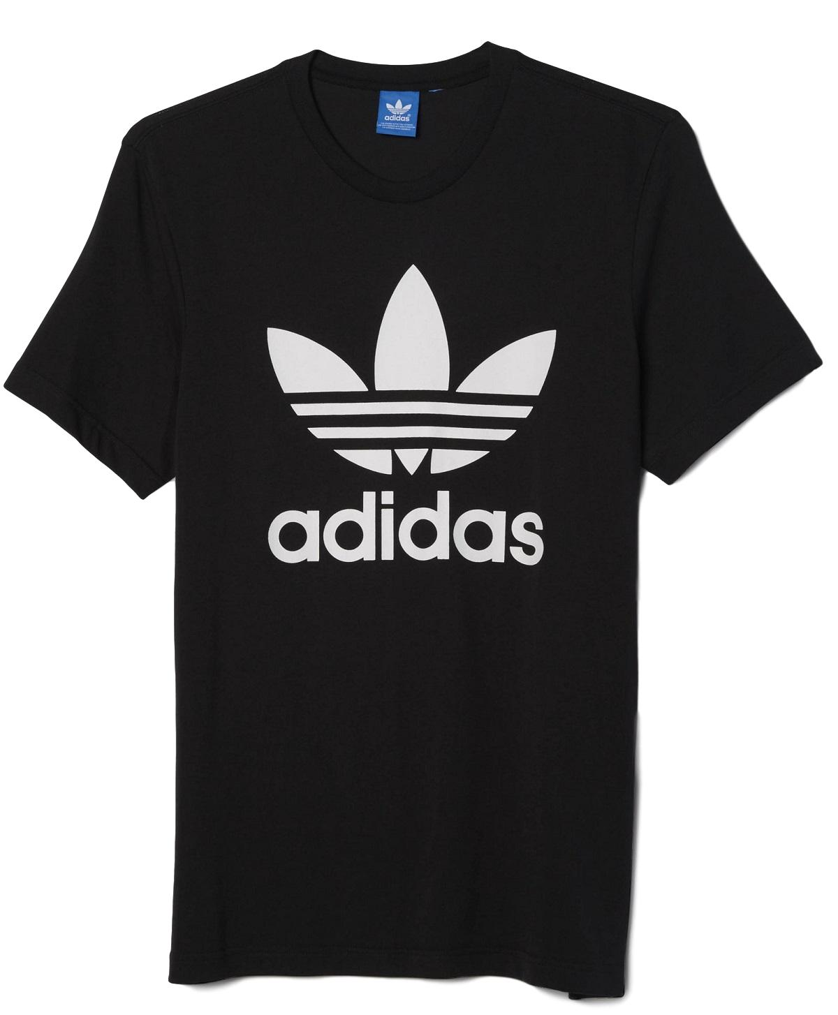 New Men's Adidas Original Authentic Trefoil Logo Tee Shirt T-Shirt Crewneck Graphic Black