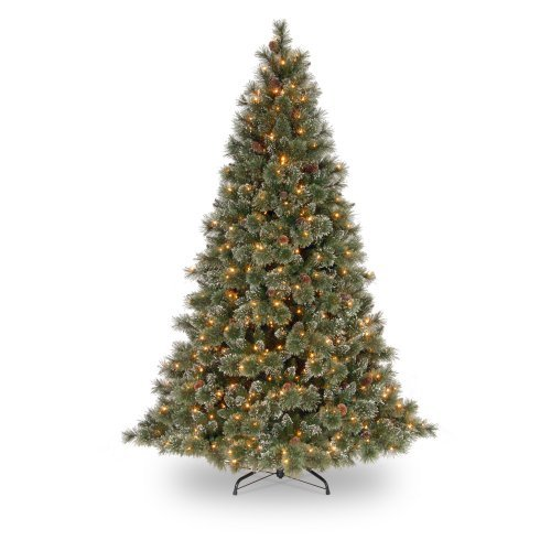 National Tree Pre-Lit 7.5' Glittery Bristle Pine Hinged Artificial Christmas Tree with White Tipped Cones and 750 Clear Lights