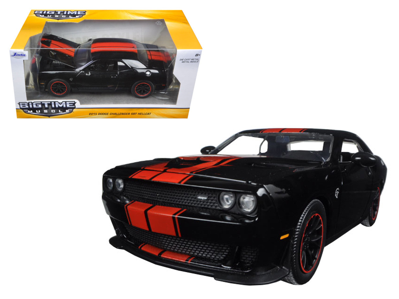 2015 Dodge Challenger SRT Hellcat Black with Red Stripes 1 24 Diecast Model Car by Jada by Jada