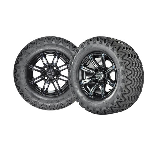 """Mirage 10"""" Black Golf Cart Wheels with 20"""" A/T Tires - Set of 4"""