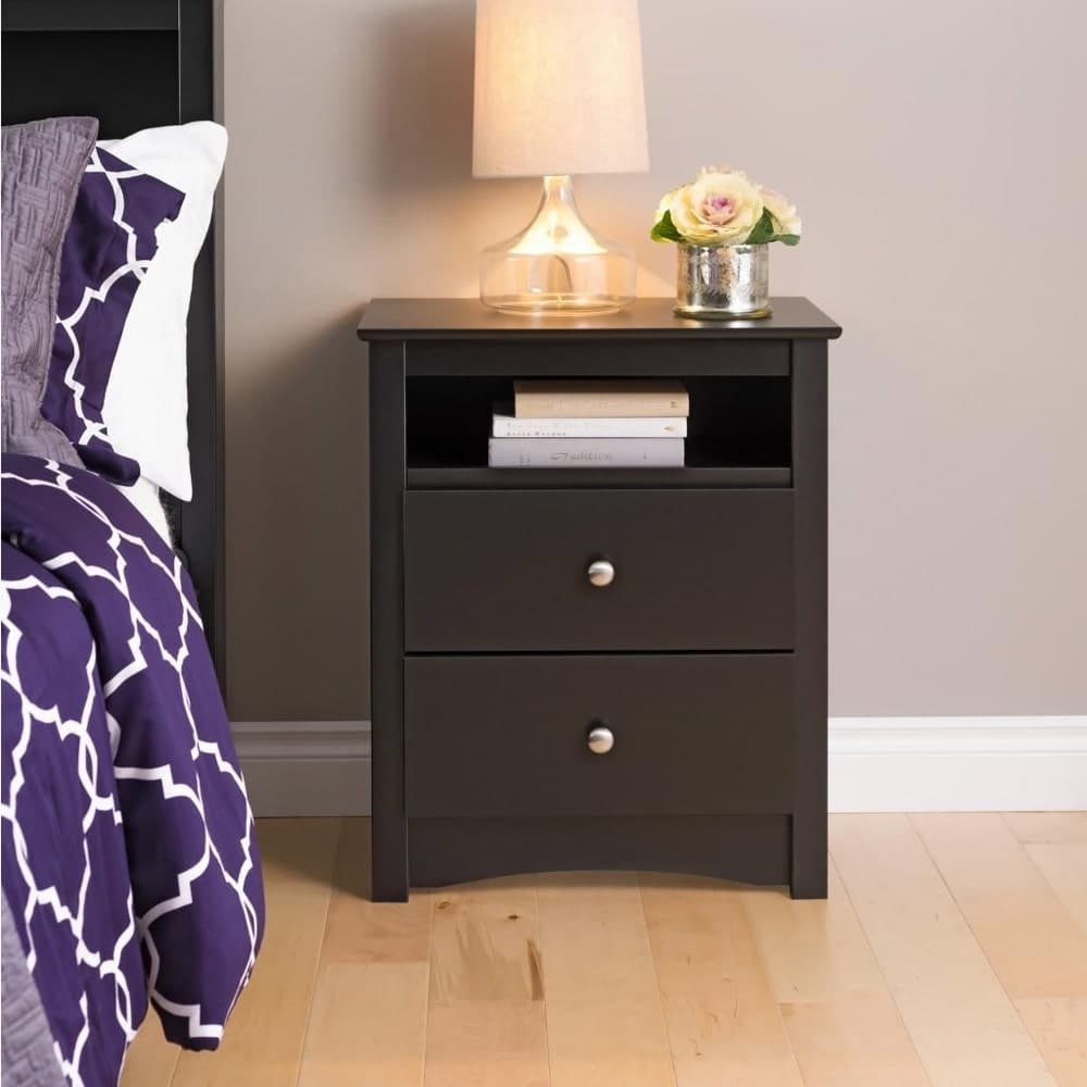 Prepac Broadway Black 2-drawer and Open Cubby Nightstand by Overstock