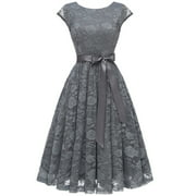 Market In The Box Women's Cap Sleeve Lace Swing Dress Scoop Neckline Party Cocktail Dresses