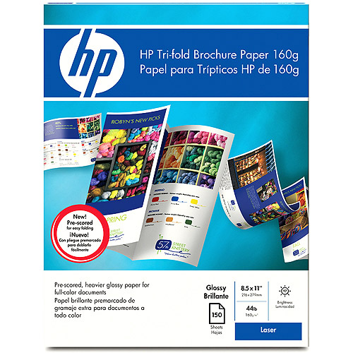 HP Tri-fold Color Laser Brochure Paper, Glossy (150 sheets, 8.5 x 11-inch)