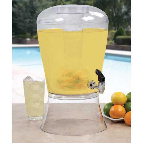 Creative Bath 3-Gallon Beverage Dispenser with Ice Cylinder and Fruit Infuser