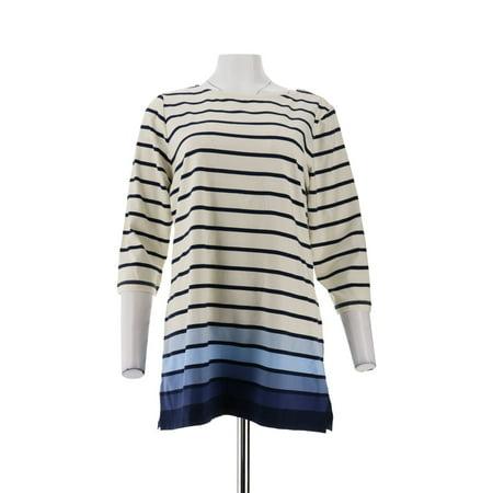 Denim & Co Petite Jersey Stripe 3/4 Slv Tunic A303262 (Petite Striped Button Detail Top)