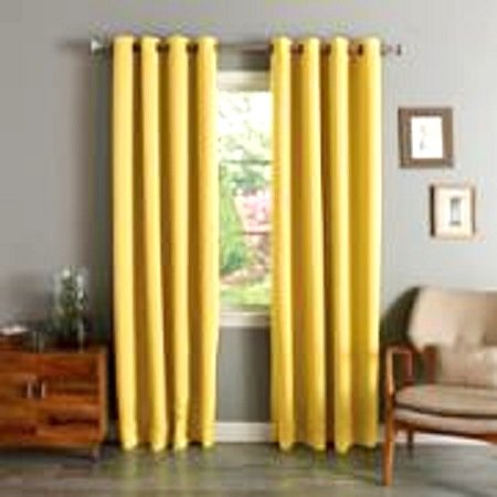 (#72) 1 PANEL YELLOW SOLID THERMAL FOAM LINED BLACKOUT HEAVY THICK WINDOW CURTAIN DRAPES BRONZE GROMMETS 84