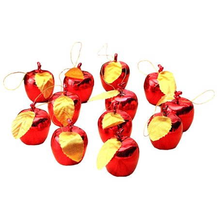 KABOER 12X Christmas Tree Decorations Red Gold Xmas Apple Baubles Hanging Ornaments UK ()