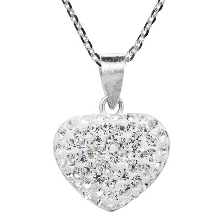Encrusted Heart (Sparkling White Heart Crystal Encrusted .925 Silver)