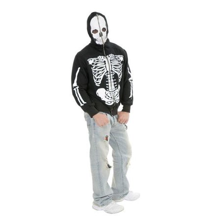 Adult Skeleton Sweatshirt Hoodie Costume - Glow In The Dark Skeleton Hoodie