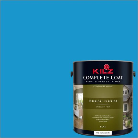 KILZ COMPLETE COAT Interior/Exterior Paint & Primer in One #RD280-02 Hero Blue