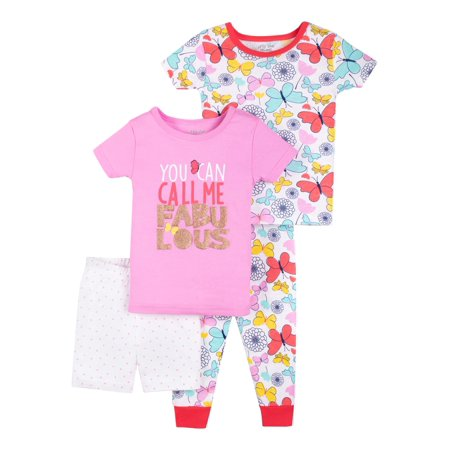100% Organic Cotton Short Sleeve Tight Fit Pajamas, 4pc Set (Baby Girls and Toddler (100% Perfect Girl)