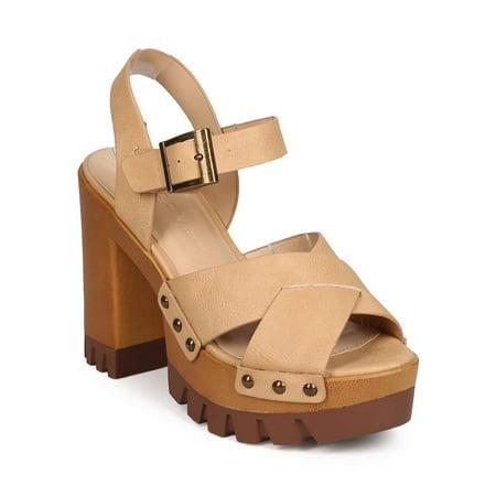 b425fab437c Wild Diva - Wild Diva EB69 Women Leatherette Peep Toe Criss Cross Block Heel  Lug Platform Sandal - Walmart.com