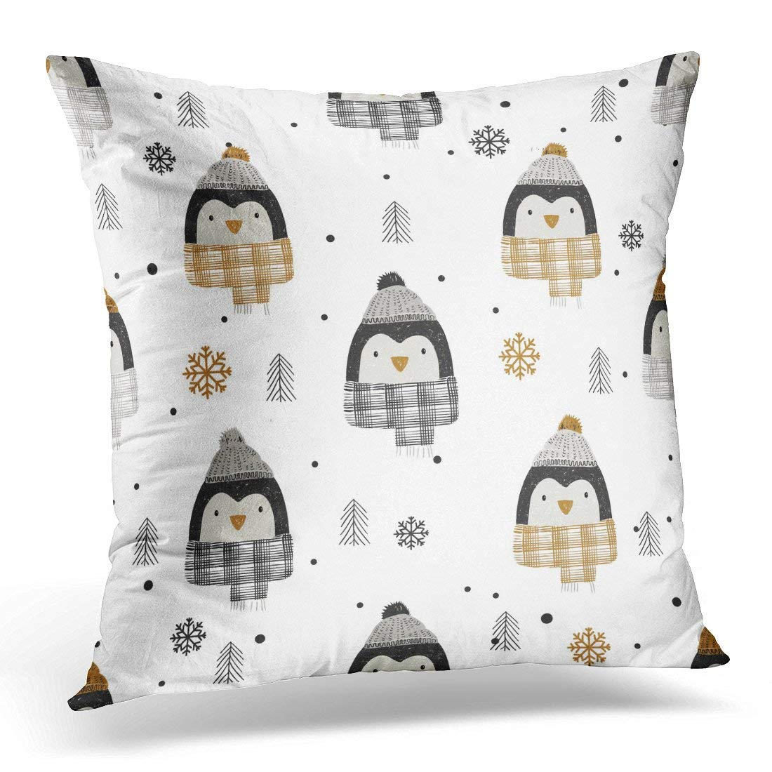CMFUN Black Baby Monochrome with Cute Penguins Kid's Baby's Design Graphic White Christmas Pillow Case Pillow Cover 18x18 inch