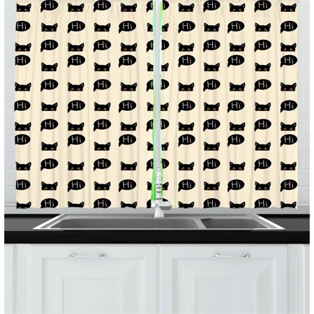 - Cat Curtains 2 Panels Set, Young Black Kitties Sneaking on and Saying Hi Lovely and Playful Domestic Pets, Window Drapes for Living Room Bedroom, 55W X 39L Inches, Ivory Black Ruby, by Ambesonne