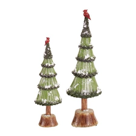 """Set of 2 Snowy Glittered Christmas Trees with Cardinals Table Top Decorations 20.5"""" - image ..."""