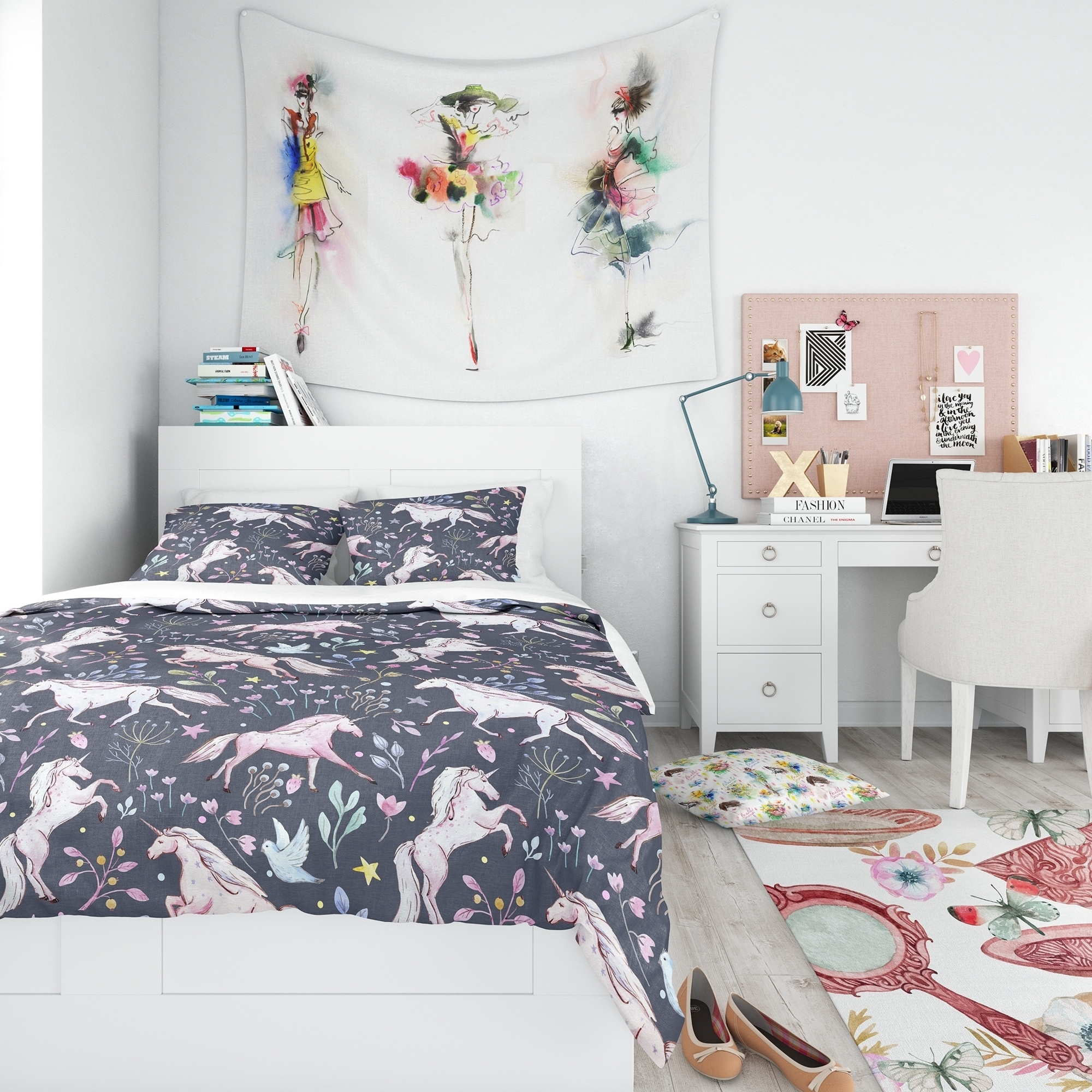 DESIGN ART Designart U0027Watercolor Unicorn Patternu0027 Modern Teen Bedding Set    Duvet Cover U0026 Shams   Walmart.com