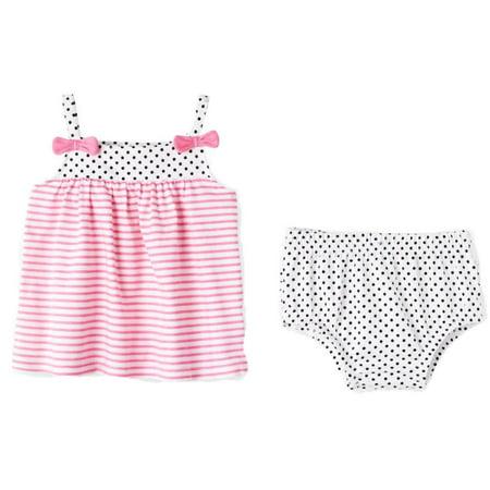 Pink Polka Dot Panties - Infant Girls Pink Stripe & Polka Dot Cotton Sun Dress & Panty Baby Outfit  - Size - Newborn