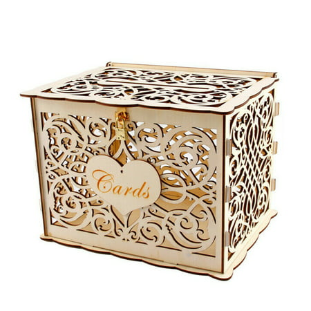 Wedding Card Box, DIY Gift Card Boxes with Lock and Card Sign Wooden Hollow Wedding Money Box Holder for Reception Weddings Baby Showers Birthdays Graduations Party Decorations Wedding Money Card Holder