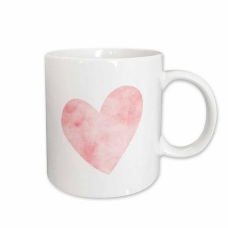 3dRose Pretty Blush Pink Watercolor Heart - Ceramic Mug,