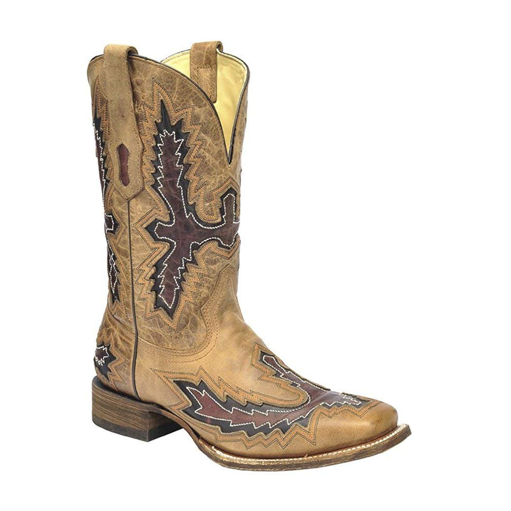 CORRAL Men/'s Black With Cognac Overlay Square Toe Cowboy Boots G1203