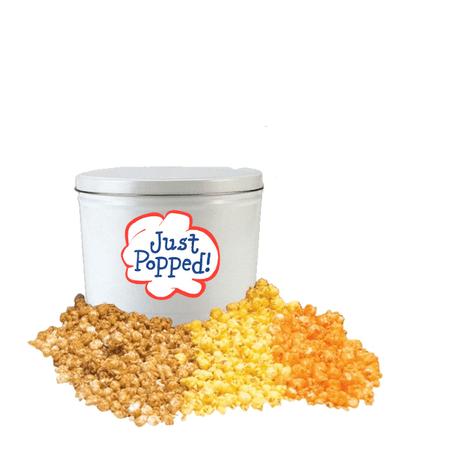Just Popped Classic Popcorn Gift Holiday Christmas Tin- 2 Gallon 2 Gallon Caramel Popcorn