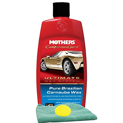 Mothers California Gold Pure Brazilian Carnauba Wax (16 oz.), Bundled with a Microfiber Cloth & Foam Pad (3 Items)