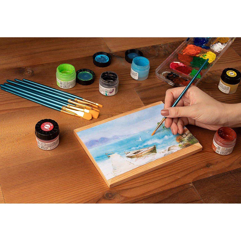 5 Artist Flat//Round Nylon Paint Brush Watercolor Acrylic Oil Painting Orange