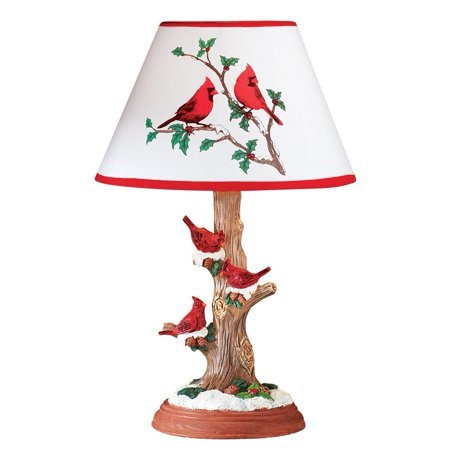 Cardinal Table Lamp Christmas Decoration with Tree Trunk Base and Snow Accents - Holiday Décor for Any Room in Home