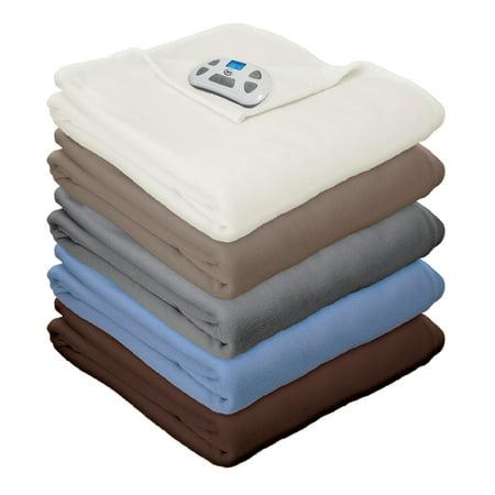 Serta MicroFleece Electric Heated Blanket, Queen, Blue (Serta Queen Heated Blanket)