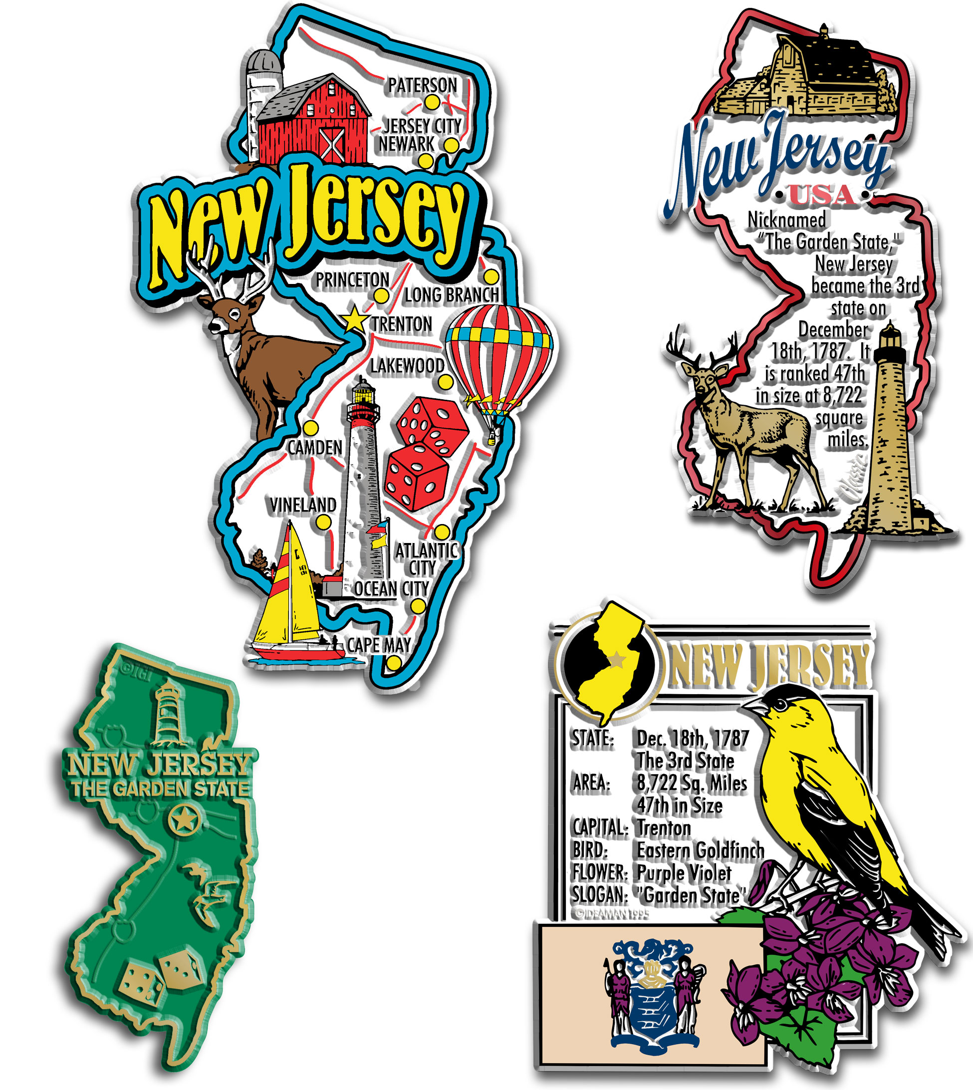 Four-Piece State Magnet Set - New Jersey