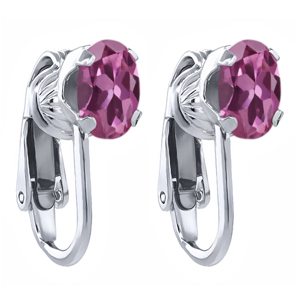 1.70 Ct Oval Pink Tourmaline 925 Sterling Silver Clip-On Earrings