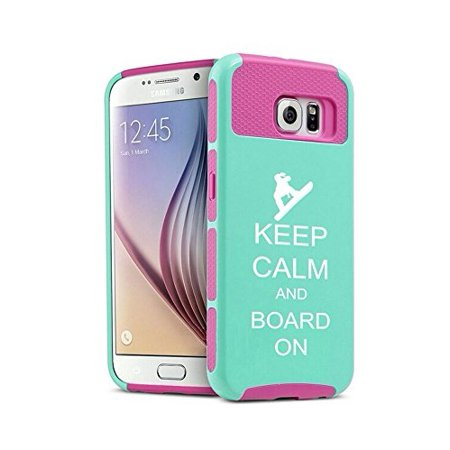 Snowboard Hard Case (Samsung Galaxy S6 Edge Shockproof Impact Hard Case Cover Keep Calm and Board On Snowboard (Teal-Hot Pink),MIP)