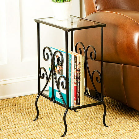 Southern Enterprises Metal Scroll Magazine Table