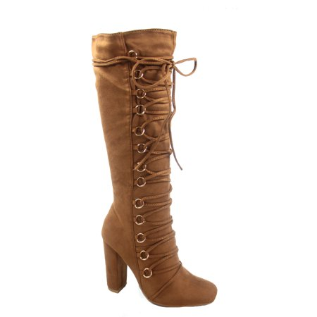 Women's Stylish Fashion Lace Up Side Zip Mid-Calf Knee High Chunky High Heel Boots
