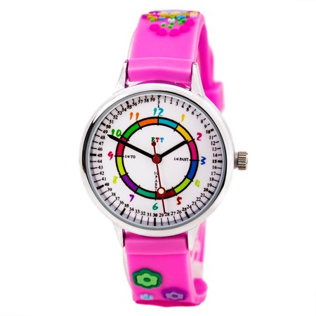 Easy Time Teller ETT103 Kid's White Dial Pink Rubber Strap Time Teaching Watch