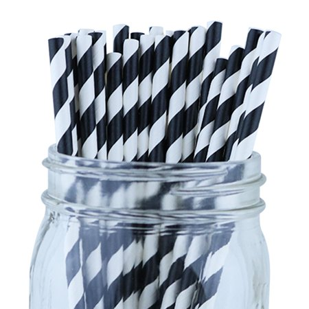 Just Artifacts 100pcs Decorative Striped Paper Straws (Striped, Black)](Black And White Straws)