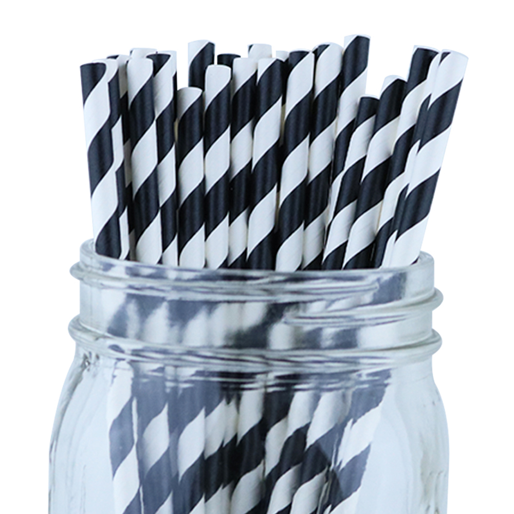 Just Artifacts 100pcs Decorative Striped Paper Straws (Striped, Black)