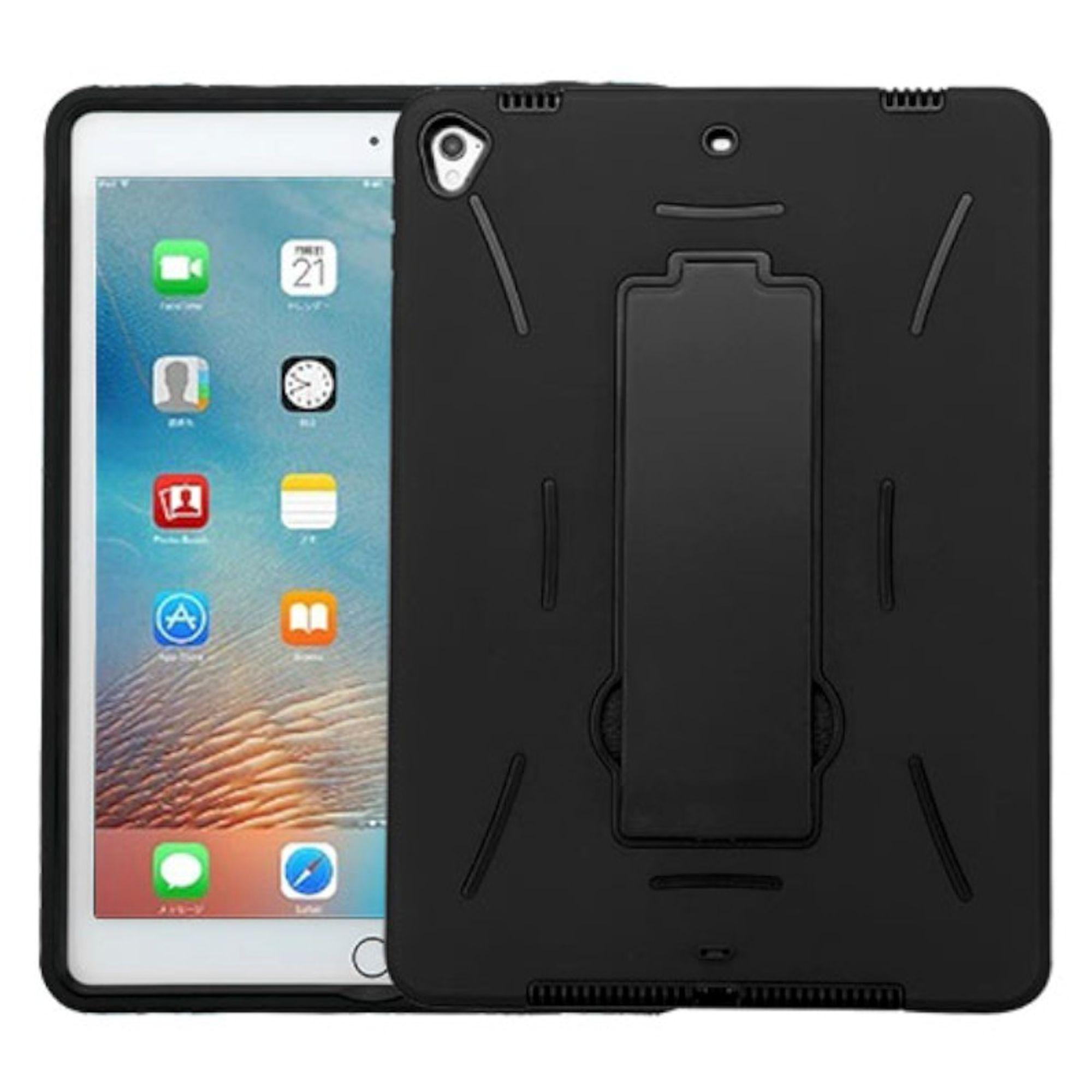 "9.7"" iPad Pro  Case Symbiosis Skin Hybrid Rubber Hard Case w/ Stand by Insten For Apple iPad Pro (9.7"") - Black"