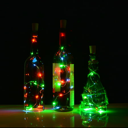 Cork shape lights,Bottle Mini String Lighting 75cm/30inch Copper Wire light For Wedding ect, decoration RGB - Copper Decorations