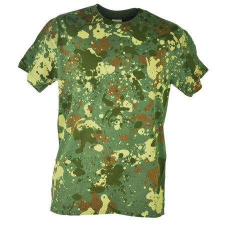 Plain Shirts Light (Spattered Camouflage Color Paint Design Green Plain Men Adult Tshirt Tee)